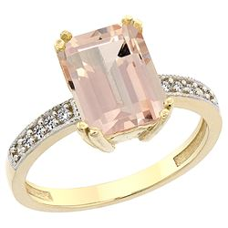2.95 CTW Morganite & Diamond Ring 14K Yellow Gold - REF-59W8F