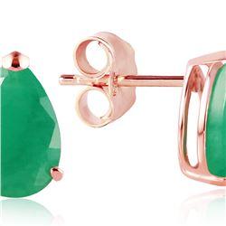 Genuine 2 ctw Emerald Earrings 14KT Rose Gold - REF-34A3K
