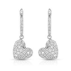 Natural 0.85 CTW Diamond Earrings 18K White Gold - REF-102W6H