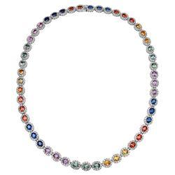 Natural 33.92 CTW Multi-Sapphire & Diamond Necklace 14K White Gold - REF-897K3R