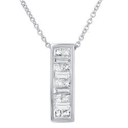 Natural 0.50 CTW Princess Diamond & Baguette Necklace 14K White Gold - REF-68K4R