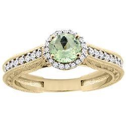 0.99 CTW Amethyst & Diamond Ring 14K Yellow Gold - REF-57V2R