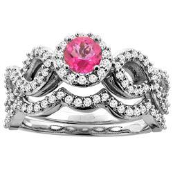 1.06 CTW Pink Topaz & Diamond Ring 10K White Gold - REF-81H6M