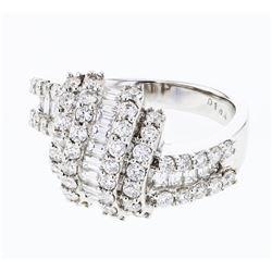Natural 1.69 CTW Diamond & Baguette Ring 18K White Gold - REF-227F7M