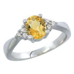 1.06 CTW Citrine & Diamond Ring 14K White Gold - REF-36A9X