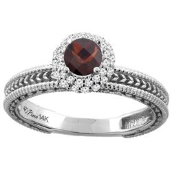 0.85 CTW Garnet & Diamond Ring 14K White Gold - REF-53A5X