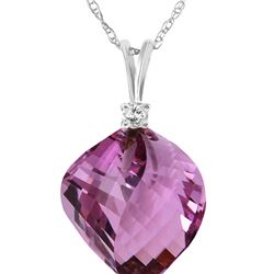 Genuine 10.80 ctw Amethyst & Diamond Necklace 14KT White Gold - REF-29T3A