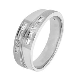 Natural 0.43 CTW Baguette Ring 14K White Gold - REF-120K6R