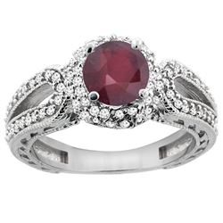 1.55 CTW Ruby & Diamond Ring 14K White Gold - REF-87F5N
