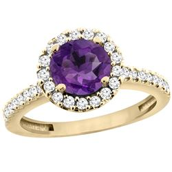 1.13 CTW Amethyst & Diamond Ring 14K Yellow Gold - REF-60X5M