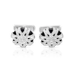 Natural 13.13 CTW Onyx & Diamond Cuff Links 14K White Gold - REF-131T4X