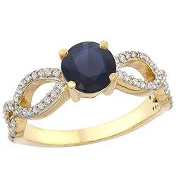 1.30 CTW Blue Sapphire & Diamond Ring 14K Yellow Gold - REF-106F5N