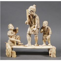 Japanese Walrus Ivory Carved Figural Group
