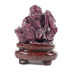 Antique Chinese Carved Ruby Matrix Man w Fish