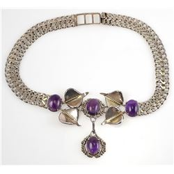 Signed FARFAN Sterling Mexican Amethyst Necklace