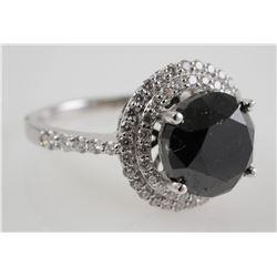 14K White Gold & BLACK DIAMOND Ring