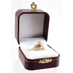 14k YG Diamond Ring, 0.55 Carat Main Stone