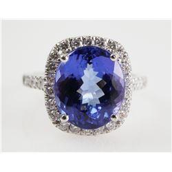 Platinum TANZANITE & DIAMOND Ring