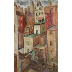 Manhattan Rooftops, Oil on Canvas, Early 20th