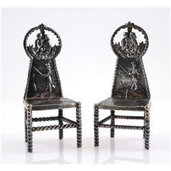 Dutch Silver 930 Miniature Pair of Chairs