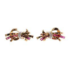 Pair 14K RUBY DIAMOND Earrings