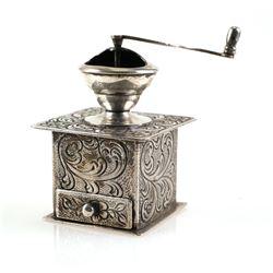 Dutch 835 Silver Miniature Coffee Grinder Mill