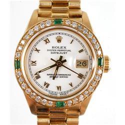 ROLEX Ladies Datejust 18k Diamonds Emeralds