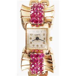 Ladies 14K Ruby LENTE Art Deco Wrist Watch