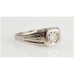 Engraved 14K White GOLD & DIAMOND Ring