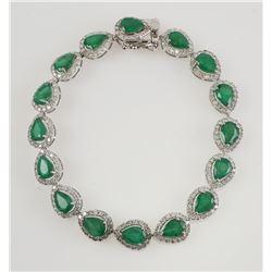 14K White Gold EMERALD & DIAMOND Bracelet