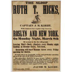 19th Century Sloop Poster, Roslyn & New York
