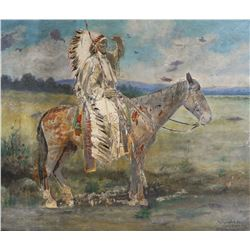 W.W. SCOTT, Large Indian Chief Photo, Hand Colored
