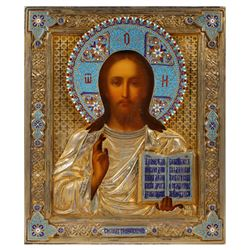 19c Russian Icon, Christ Pantokrator