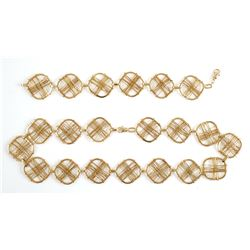 18K Modernist Designer Square Necklace & Bracelet
