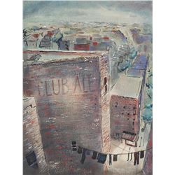 JAMES HARRIES, WPA Watercolor, New York Rooftops