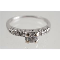 PALLADIUM Diamond Ring, Size 5