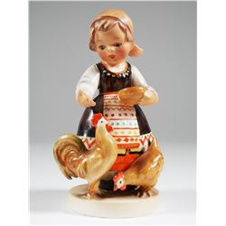 Hummel 809 BULGARIAN Girl Feeding Chickens TMK1