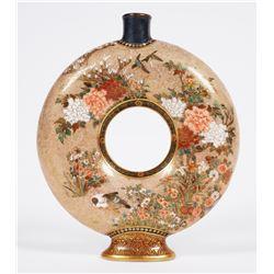 Meiji SATSUMA Moon Flask Vase, Seikozan