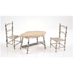 Dutch Silver 835 Miniature Table and Two Chairs