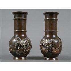 Pair Meiji Bronze Silver Japanese Vases