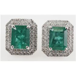 Pair PLATINUM EMERALD & Diamond Earrings