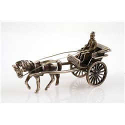 Dutch Silver 835 Miniature Horse & Carriage Buggy