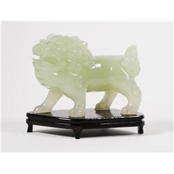 Green Carved Quartz Chinese Foo Dog Sculpture