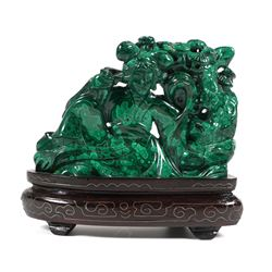 Chinese Carved Malachite Guanyin Statue