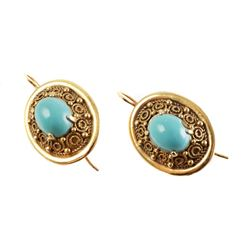 Pair 14K Sleeping Beauty TURQUOISE Earrings