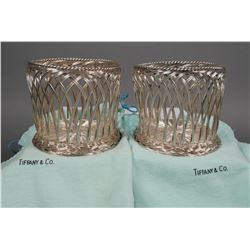 Pair TIFFANY & CO Sterling Silver WINE Coasters