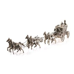 Dutch 835 Silver Miniature Royal Carriage & Horses