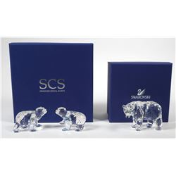 Swarovski Crystal Mother Polar Bear Cubs Figurine