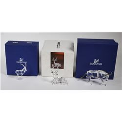 (3) Swarovski Crystal ANIMAL Figurines