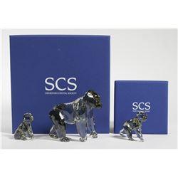 (2) Swarovski Crystal Gorilla Figurines